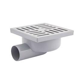 Трап Krono Plast TA5110 горизонтальный с пластиковой решеткой 150х150