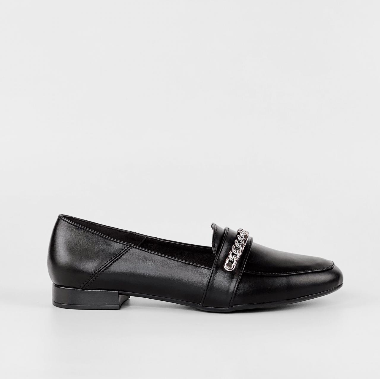Туфли женские кожаные черные с цепочкой MORENTO