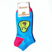 Шкарпетки жіночі короткі чоботи з принтом авокадо бірюзові Наталі розмір 37-41