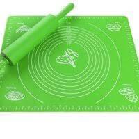 Силиконовый антипригарный коврик для выпечки и раскатки теста 40x30 см Зеленыйковрик для запекания