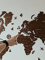 Деревянная карта мира на стену из дерева - Однослойная/Настенная/Декоративная - Орех