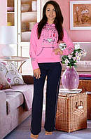 """Теплая пижама """"Сердце"""" , розовый, размер S, М,  L"""