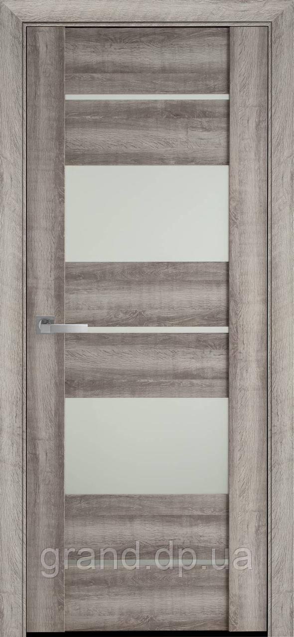 Межкомнатные двери Новый Стиль Аскона ПВХ Viva с матовым стеклом, цвет бук бук баварский