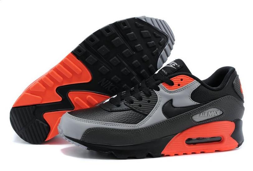 Кроссовки мужские Nike Air Max 90 Premium Black Ash Grey Total Crimson (в  стиле найк аир макс 90) e0af18a043389