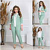 Жіночий елегантний діловий костюм трійка: жакет на змійці, біла блузка і штани, батал великі розміри, фото 3