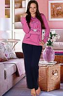 "Теплая пижама ""Сердце"" , темно розовый, размер  L, ХL"
