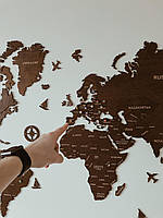 Деревянная карта мира на стену из дерева - Однослойная/Настенная/Оригинальный подарок