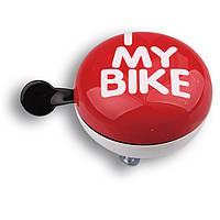 Звонок Динг-Донг Green Cycle GCB-1058S I love my bike диаметр 80мм красный