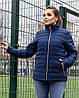 Женская стеганная весенняя куртка на синтепоне и на змейке, с воротником стойкой, батал большие размеры, фото 8