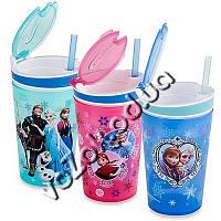 Детский стакан непроливайка-контейнер 2 в 1 Disney Frozen Snackeez Jr. Snack and Drink Cup, фото 1