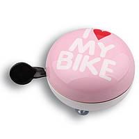 Звонок Динг-Донг Green Cycle GCB-1058S I love my bike диаметр 80мм розовый