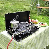 Газовый гриль портативный Silver, туристический + тостер
