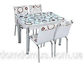 """Комплект обідній меблів """"Хвиля"""" (стіл ДСП, гартоване скло + 4 стільця) Mobilgen, Туреччина"""