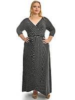 Платье запах в пол  горохи,модель 627,размеры 48-62, фото 1