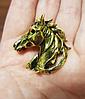 Брошка брошка металева кінь кінь темно золотиста, фото 5