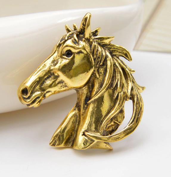 Брошка брошка металева кінь кінь темно золотиста