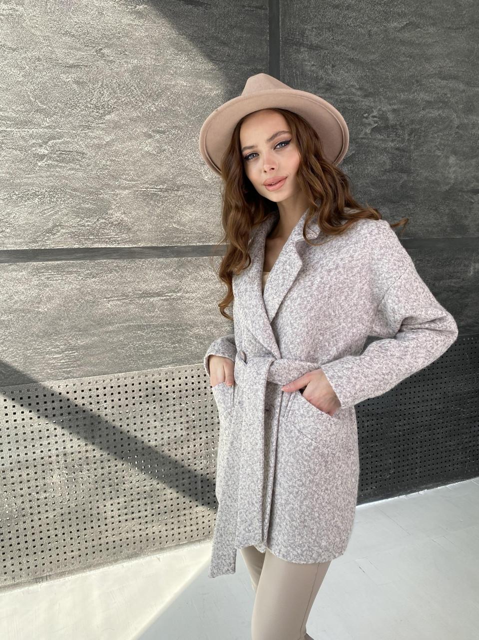 Трендові демісезонне пальто з вовни букле Бонд 10770