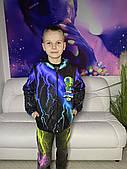 Дитяча світиться вітровка унісекс Brawl Stars Бравл Старс Леон фіолетово-зелена молн +маска в подарунок