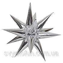 """Фольгированный шар звезда-ёжик серебро 26"""" Китай"""