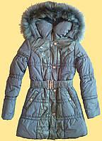 Пальто зимнее для девочки, с кружевом, серое, 140 см