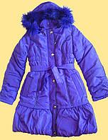 Пальто зимнее для девочки, фиолетовое, 158 см