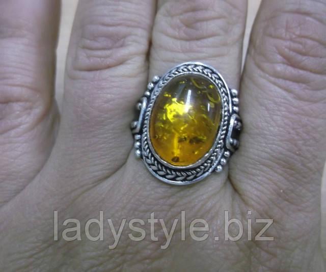 купить украшение серебряный перстень кольцо с янтарем украшение