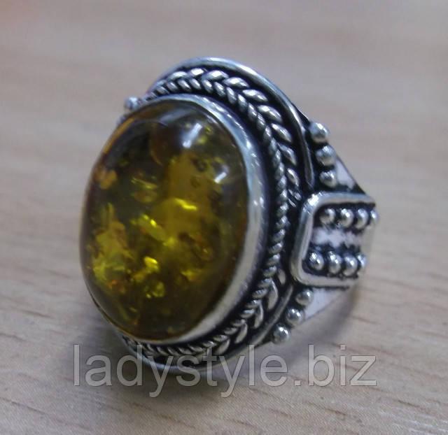 серебряный перстень кольцо натуральный янтарь украшение купить