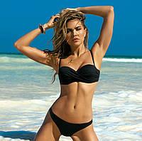 Купальник женский раздельный Красивый купальник однотонный с драпировкой, размер L (черный)