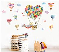 """Наклейки для детского сада, наклейка в детскую """"влюбленные на воздушных шарах"""" 110см*140см (лист60см*90см)"""