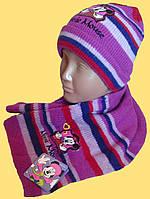"""Шапка и шарфик детские, """"Минни"""", розовый"""