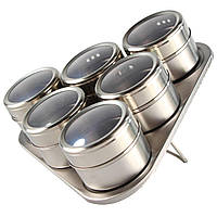 Набор баночек для специй металлических 6шт + подставка