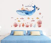 """Вінілова наклейка на стіну, шафа у ванну, дитячу кімнату """"синій кит-дім"""" 110см*110см (лист 60см*90см)"""
