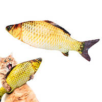 Мягкая игрушка рыба Карась 40см для кошек кота с кошачьей мятой