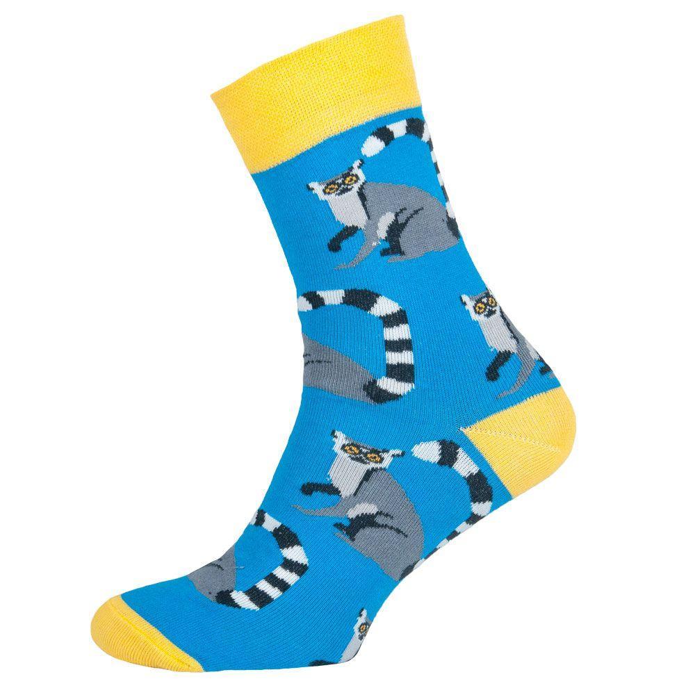 """Носки мужские цветные из хлопка, голубой """"Енот"""""""