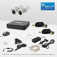 Комплект проводного видеонаблюдения Tecsar 2OUT + HDD 1TБ