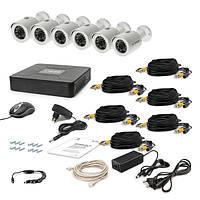 Комплект проводного видеонаблюдения Tecsar 6OUT