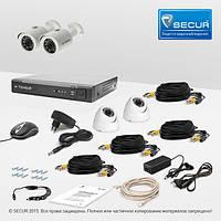 Комплект проводного видеонаблюдения Tecsar 4OUT-MIX LUX