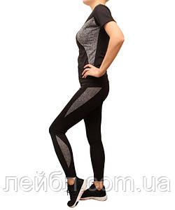 Женский комплект для фитнеса черный  с серыми вставками размеры 42-48