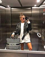 Жіноча стильна куртка-косуха з еко-шкіри з поясом в комплекті