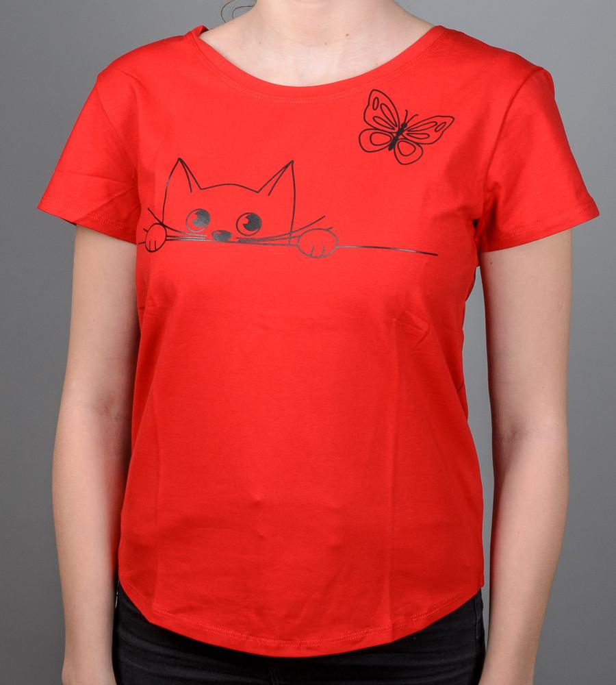 Футболка женская свободного кроя Кот (2073жс), Красный