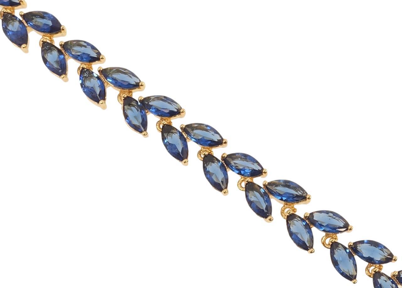 """Браслет XP Позолота 18K """"Колосок из синих кристаллов"""" длина с доп. замком 17.5,20см х 6мм"""
