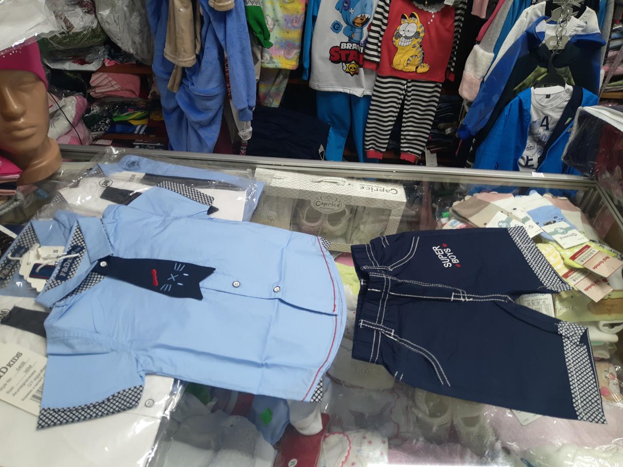 летний джинсовый костюм для мальчика Шорты рубашка р.80 - 98