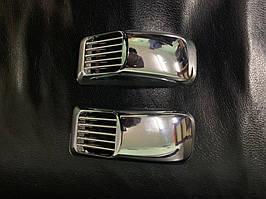 Mitsubishi Outlander 2001-2006 гг. Решетка на повторитель `Прямоугольник` (2 шт, ABS)