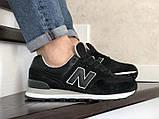 Чоловічі чорні кросівки натуральний замш і текстиль в стилі New Balance 574, фото 3