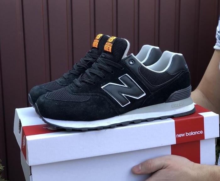 Мужские кроссовки черные натуральный замш в стиле New Balance 574