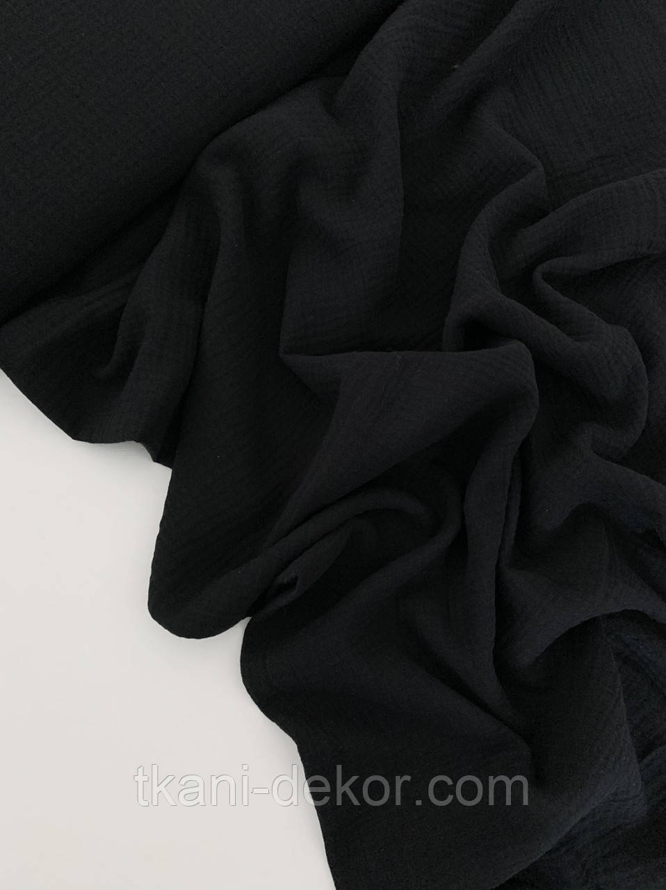 Муслин (хлопковая ткань) жатка черный однотон (ширина 1,35 м) (28)