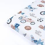"""Ткань сатин """"Детские игрушки в стиле ретро"""" сине-бежевые на белом, №3397с, фото 4"""