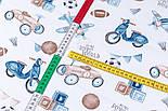 """Ткань сатин """"Детские игрушки в стиле ретро"""" сине-бежевые на белом, №3397с, фото 2"""