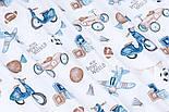 """Ткань сатин """"Детские игрушки в стиле ретро"""" сине-бежевые на белом, №3397с, фото 3"""