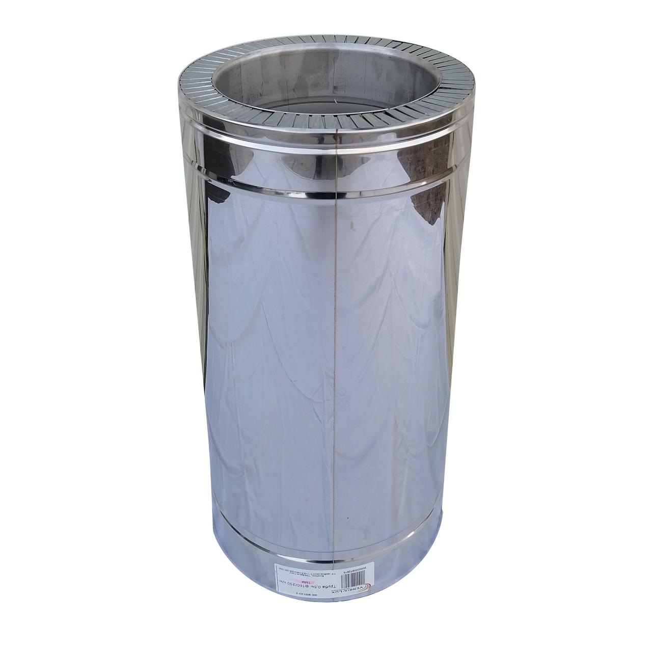 Труба димохідна сендвіч d 100 мм; 0,8 мм; AISI 304; 50 см; нержавіюча сталь/неіржавіюча сталь - «Версія-Люкс»